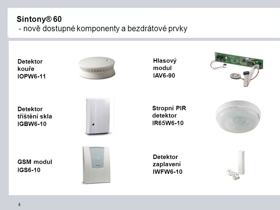 Sintony® 60 - nově dostupné komponenty a bezdrátové prvky