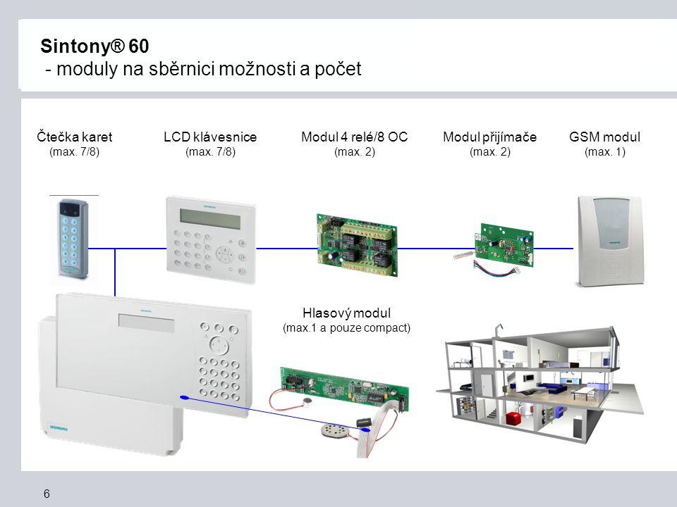 Sintony® 60 - moduly na sběrnici možnosti a počet