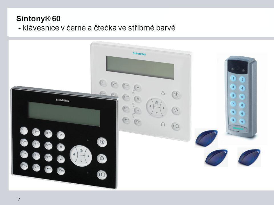 Sintony® 60 - klávesnice v černé a čtečka ve stříbrné barvě