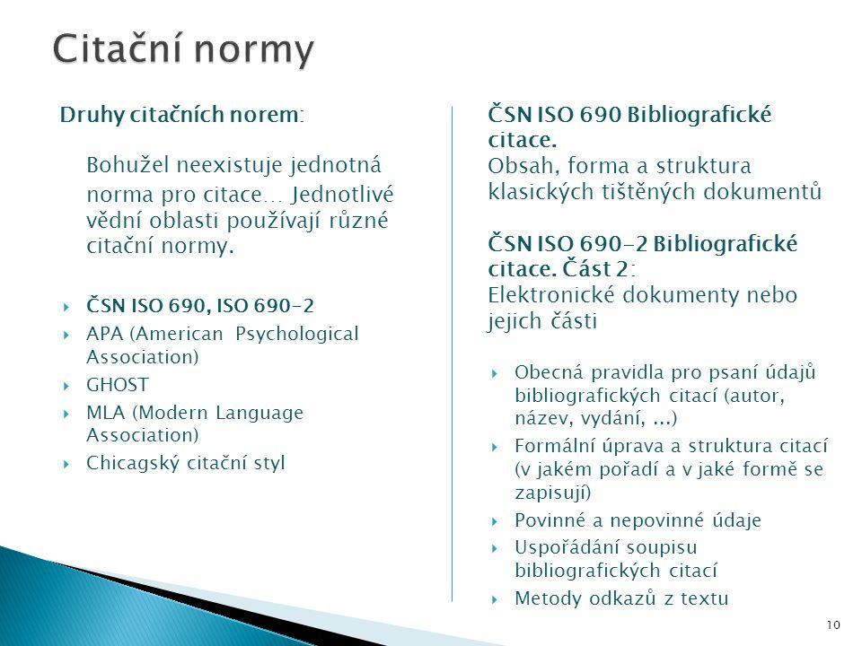 Citační normy Druhy citačních norem: ČSN ISO 690 Bibliografické citace. Obsah, forma a struktura klasických tištěných dokumentů.