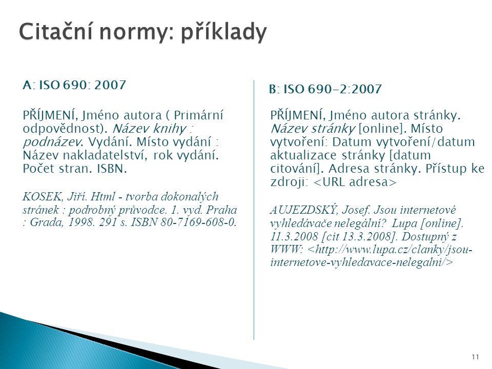 Citační normy: příklady