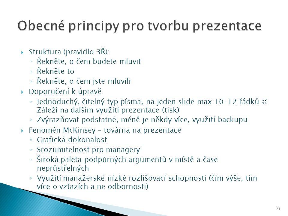 Obecné principy pro tvorbu prezentace