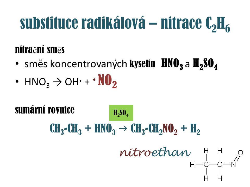 substituce radikálová – nitrace C2H6