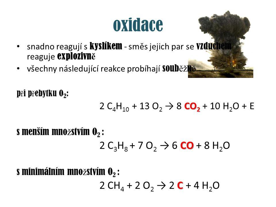 oxidace snadno reagují s kyslíkem - směs jejich par se vzduchem reaguje explozivně. všechny následující reakce probíhají souběžně.