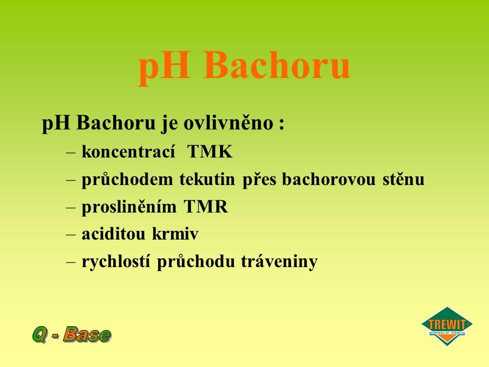 pH Bachoru pH Bachoru je ovlivněno : Q - Base koncentrací TMK