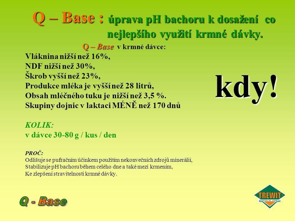 Q – Base : úprava pH bachoru k dosažení co nejlepšího využití krmné dávky.