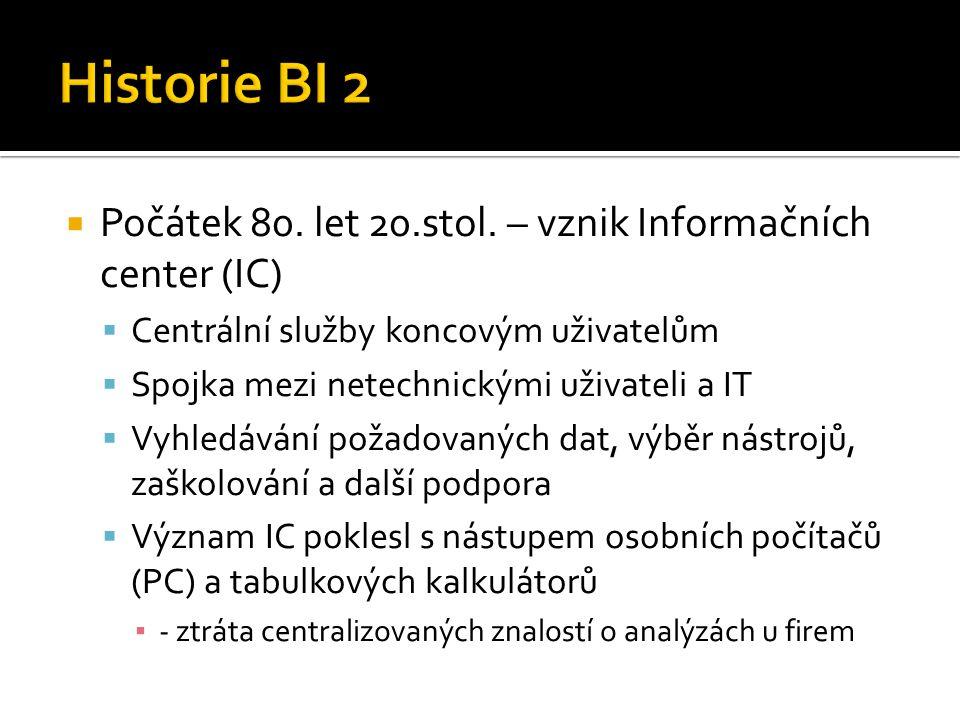 Historie BI 2 Počátek 80. let 20.stol. – vznik Informačních center (IC) Centrální služby koncovým uživatelům.