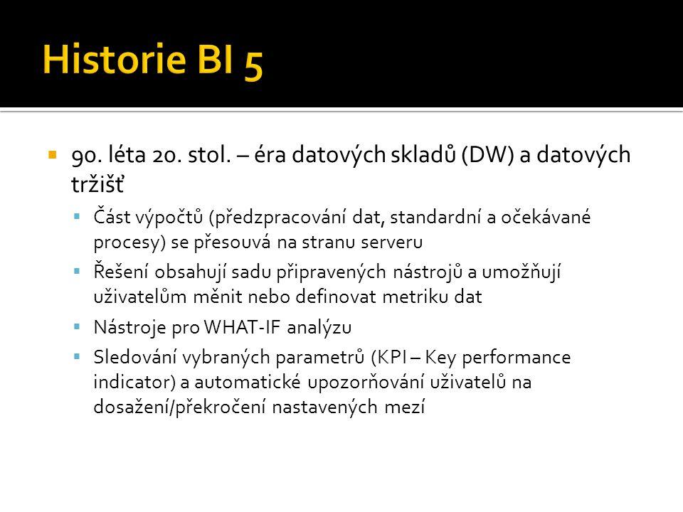 Historie BI 5 90. léta 20. stol. – éra datových skladů (DW) a datových tržišť.