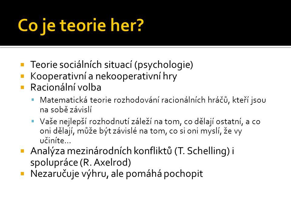 Co je teorie her Teorie sociálních situací (psychologie)