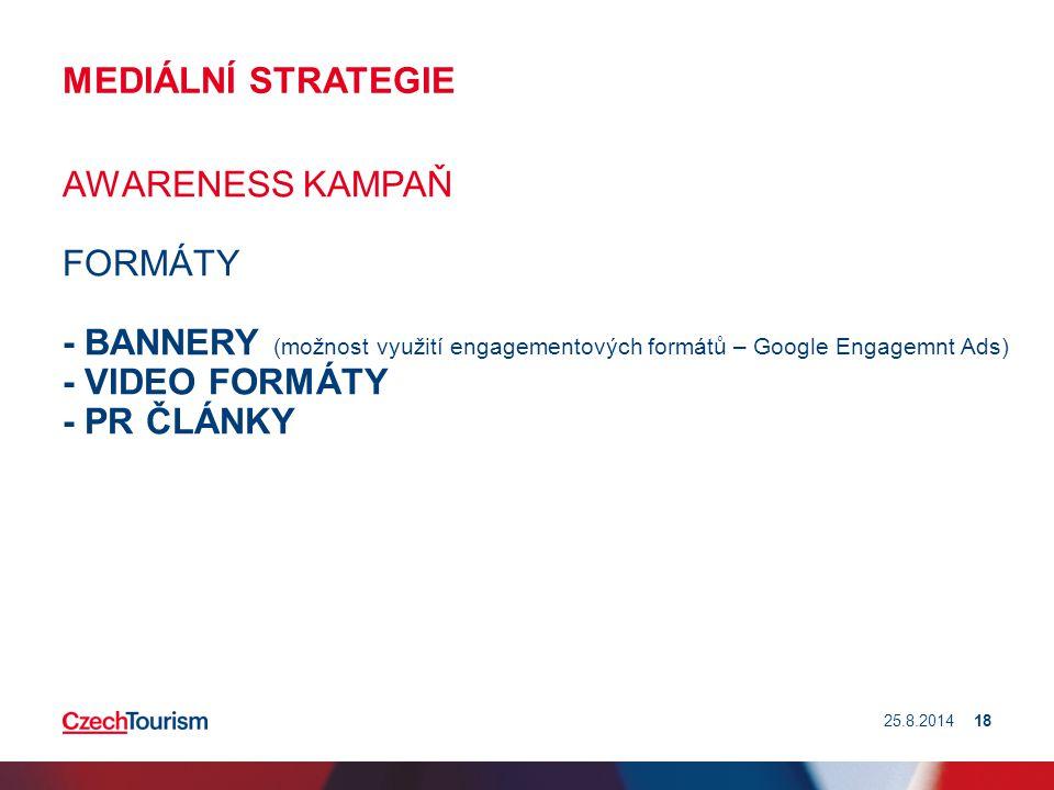 MEDIÁLNÍ STRATEGIE AWARENESS KAMPAŇ FORMÁTY - BANNERY (možnost využití engagementových formátů – Google Engagemnt Ads) - VIDEO FORMÁTY - PR ČLÁNKY