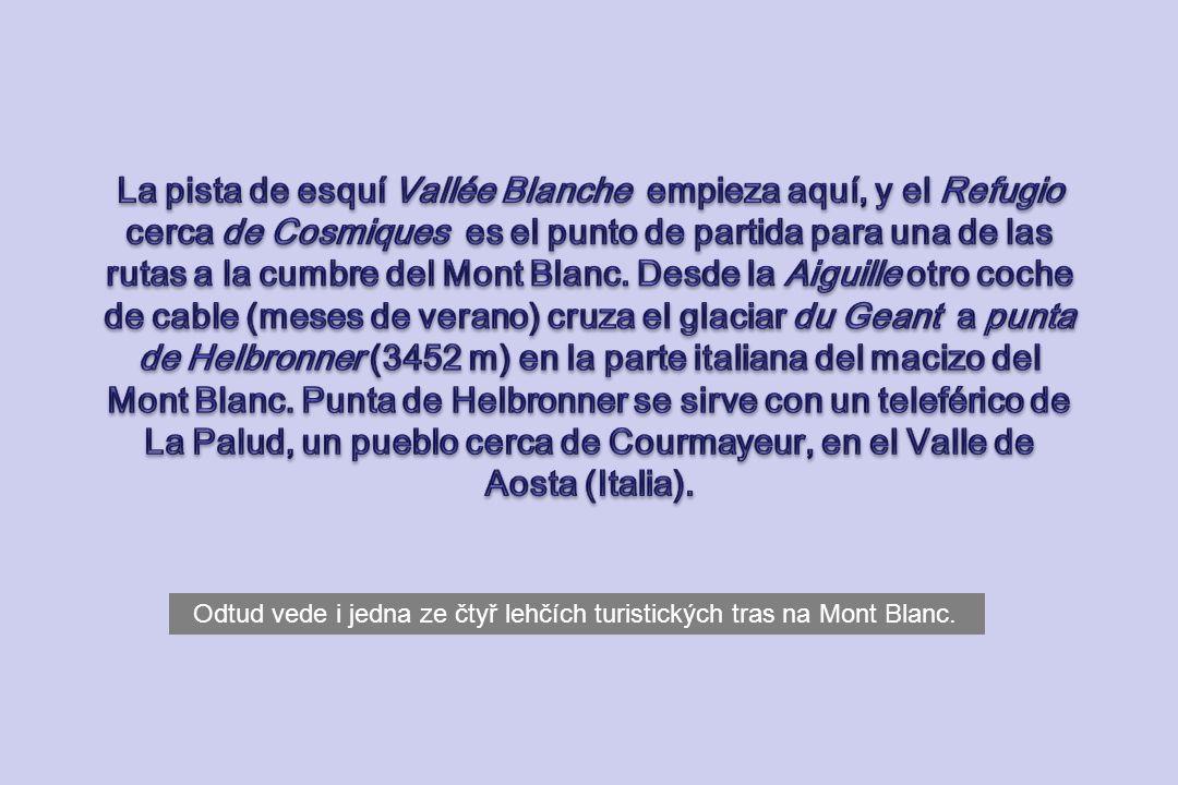 La pista de esquí Vallée Blanche empieza aquí, y el Refugio cerca de Cosmiques es el punto de partida para una de las rutas a la cumbre del Mont Blanc. Desde la Aiguille otro coche de cable (meses de verano) cruza el glaciar du Geant a punta de Helbronner (3452 m) en la parte italiana del macizo del Mont Blanc. Punta de Helbronner se sirve con un teleférico de La Palud, un pueblo cerca de Courmayeur, en el Valle de Aosta (Italia).