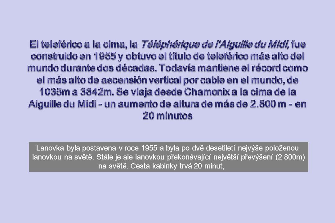 El teleférico a la cima, la Téléphérique de l Aiguille du Midi, fue construido en 1955 y obtuvo el título de teleférico más alto del mundo durante dos décadas. Todavía mantiene el récord como el más alto de ascensión vertical por cable en el mundo, de 1035m a 3842m. Se viaja desde Chamonix a la cima de la Aiguille du Midi - un aumento de altura de más de 2.800 m - en 20 minutos
