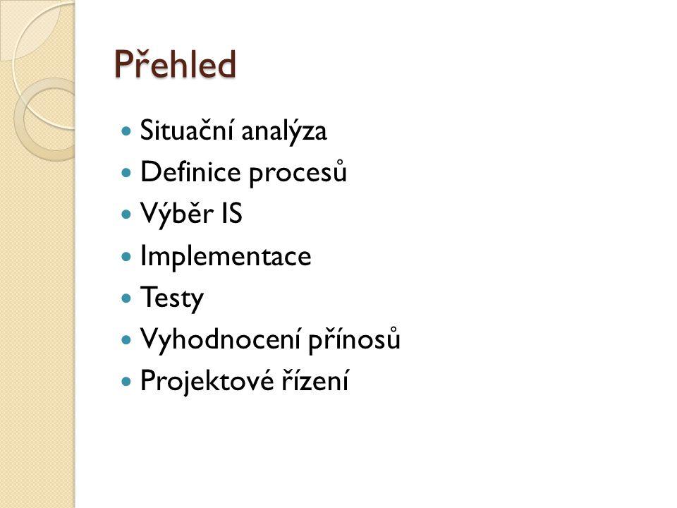 Přehled Situační analýza Definice procesů Výběr IS Implementace Testy