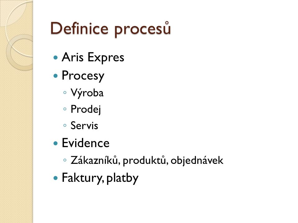 Definice procesů Aris Expres Procesy Evidence Faktury, platby Výroba