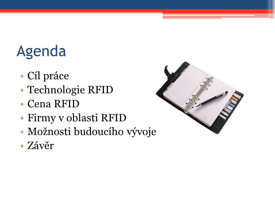 Agenda Cíl práce Technologie RFID Cena RFID Firmy v oblasti RFID