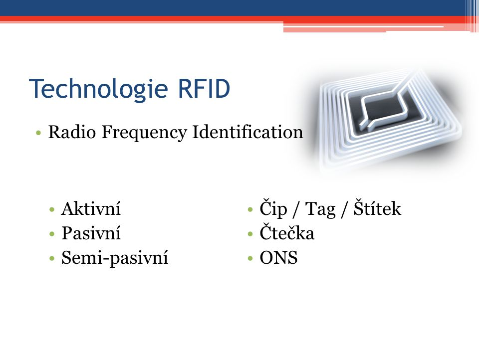 Technologie RFID Radio Frequency Identification Aktivní Pasivní
