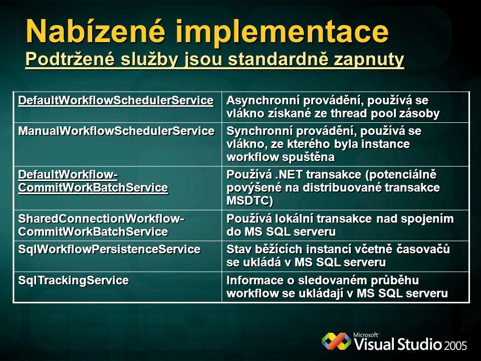 Nabízené implementace Podtržené služby jsou standardně zapnuty