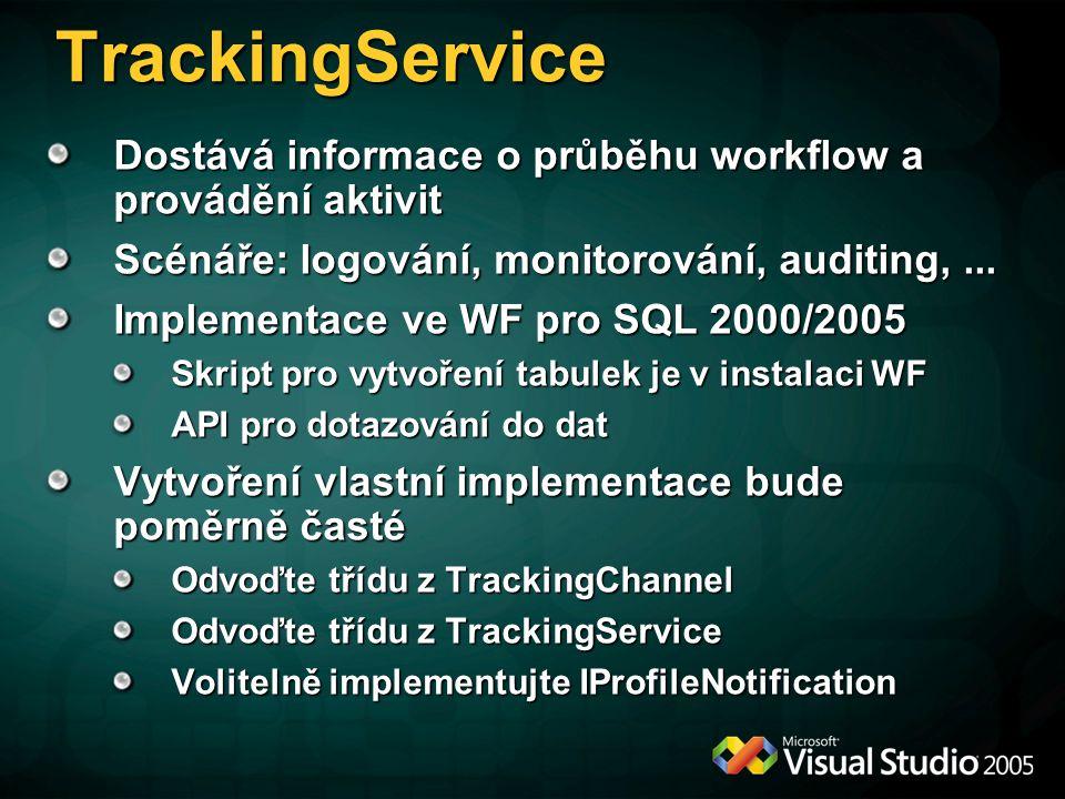 TrackingService Dostává informace o průběhu workflow a provádění aktivit. Scénáře: logování, monitorování, auditing, ...