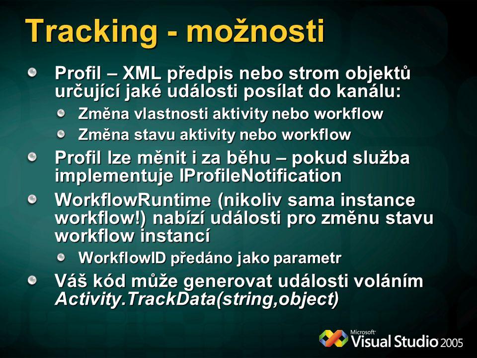 Tracking - možnosti Profil – XML předpis nebo strom objektů určující jaké události posílat do kanálu: