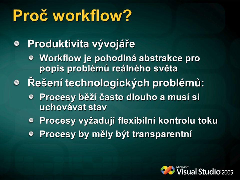 Proč workflow Produktivita vývojáře Řešení technologických problémů: