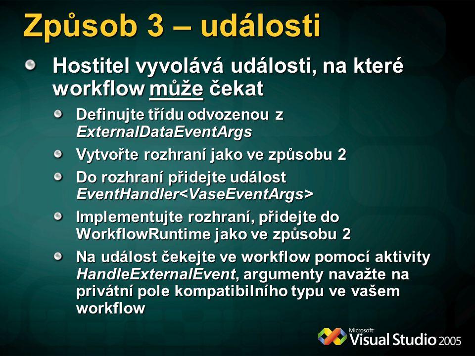Způsob 3 – události Hostitel vyvolává události, na které workflow může čekat. Definujte třídu odvozenou z ExternalDataEventArgs.