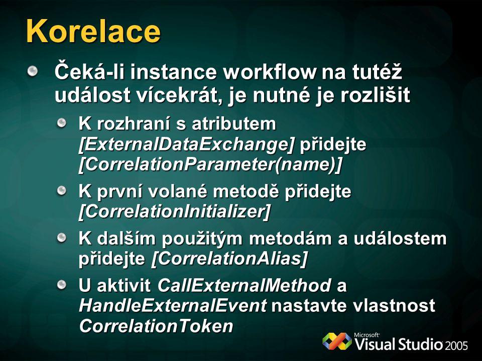 Korelace Čeká-li instance workflow na tutéž událost vícekrát, je nutné je rozlišit.