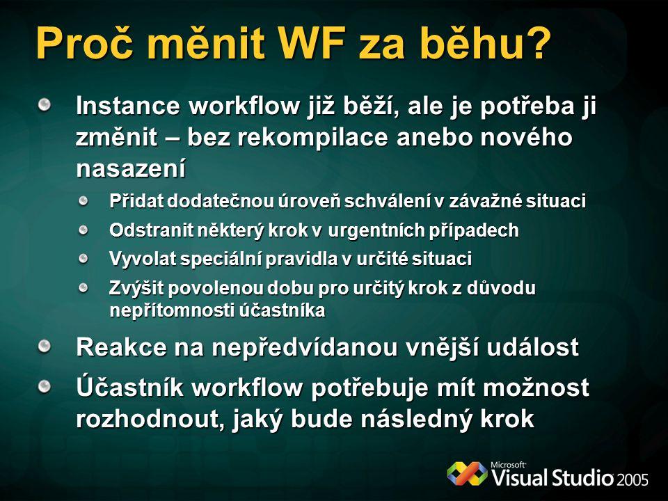 Proč měnit WF za běhu Instance workflow již běží, ale je potřeba ji změnit – bez rekompilace anebo nového nasazení.
