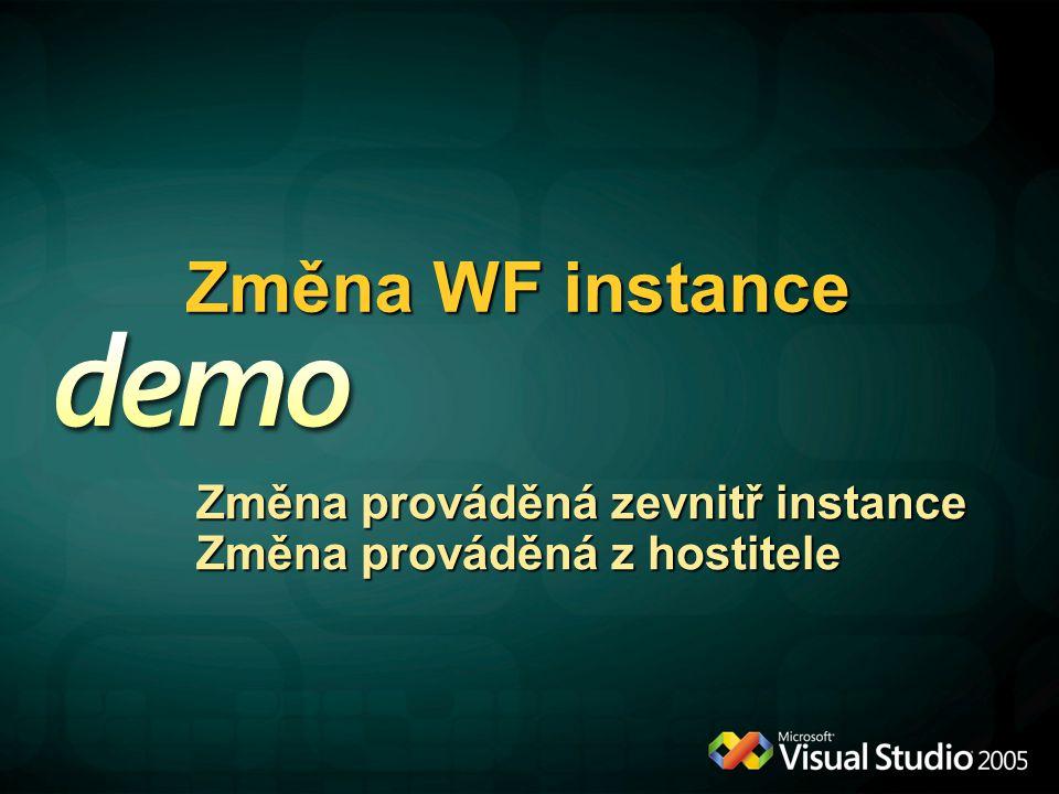 Změna WF instance Změna prováděná zevnitř instance Změna prováděná z hostitele