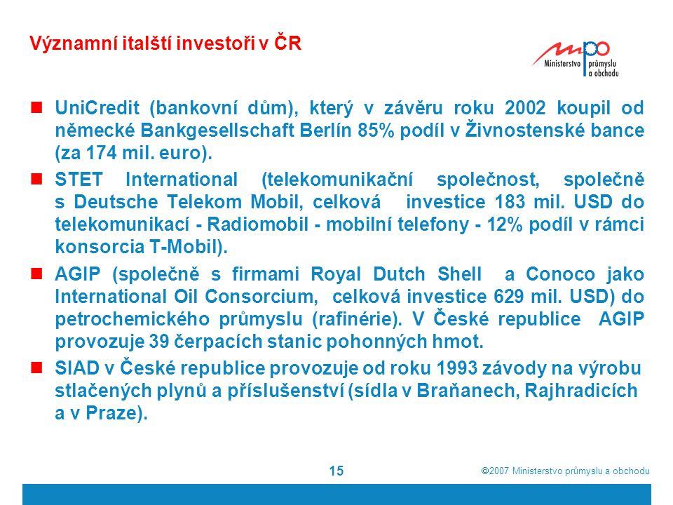 Významní italští investoři v ČR