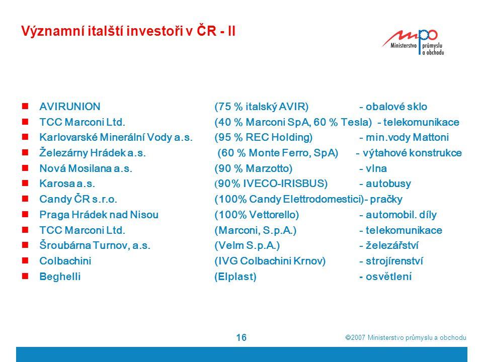Významní italští investoři v ČR - II