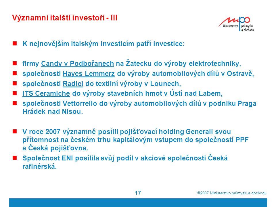 Významní italští investoři - III