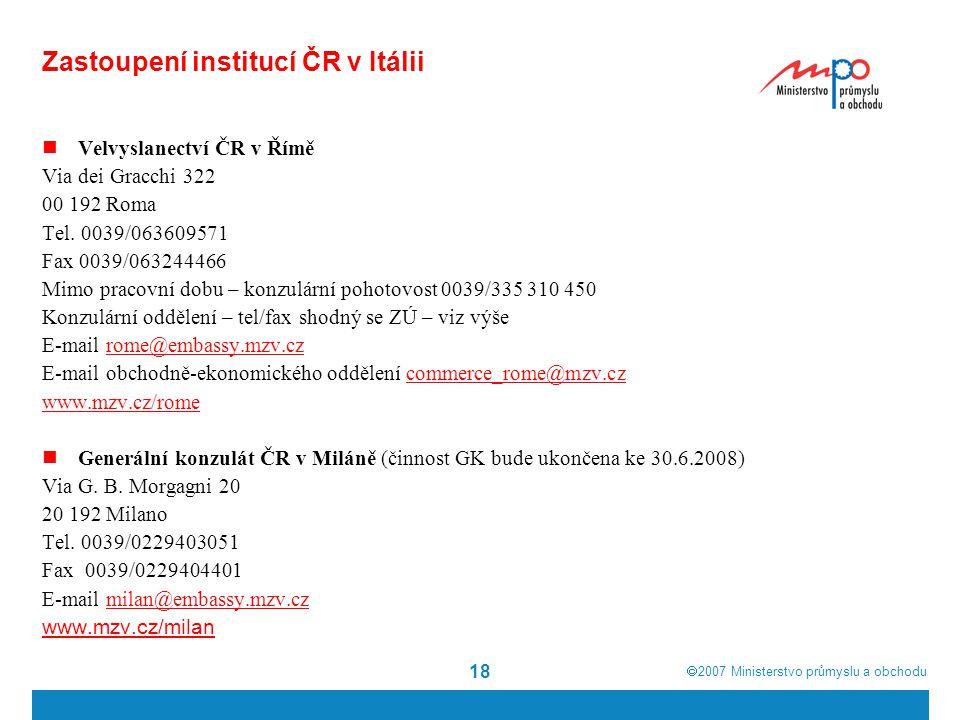 Zastoupení institucí ČR v Itálii