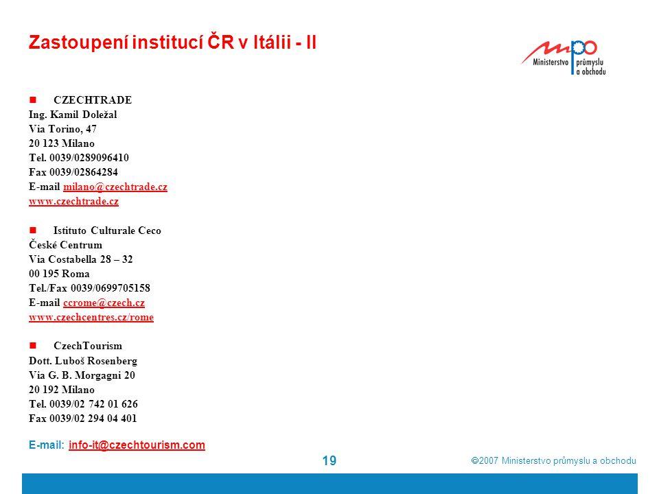 Zastoupení institucí ČR v Itálii - II