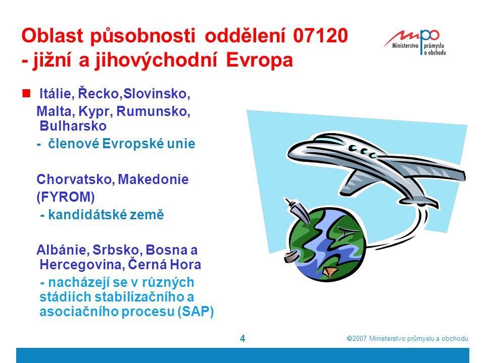 Oblast působnosti oddělení 07120 - jižní a jihovýchodní Evropa