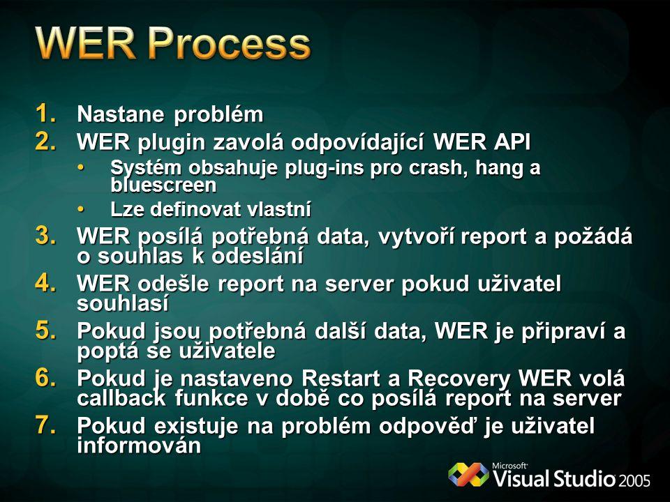 WER Process Nastane problém WER plugin zavolá odpovídající WER API