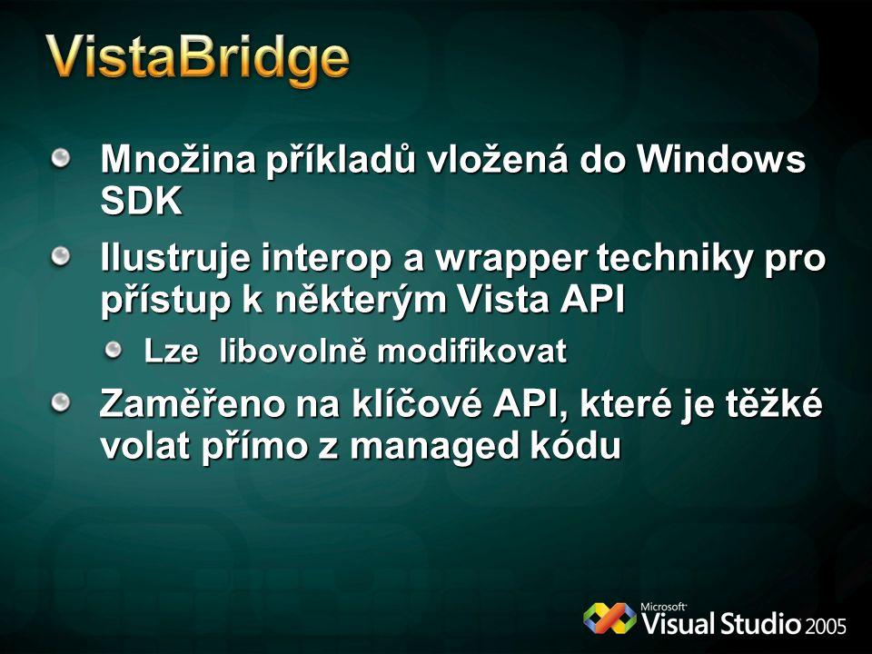 VistaBridge Množina příkladů vložená do Windows SDK