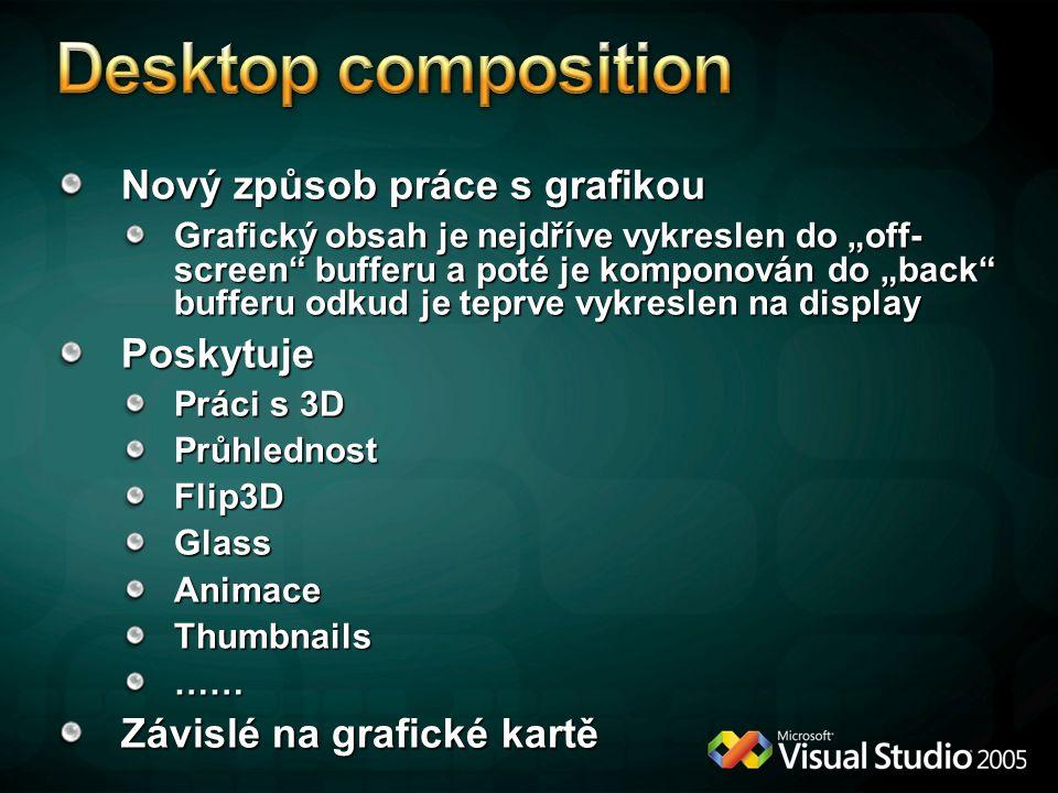 Desktop composition Nový způsob práce s grafikou Poskytuje