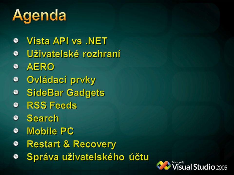 Agenda Vista API vs .NET Uživatelské rozhraní AERO Ovládací prvky