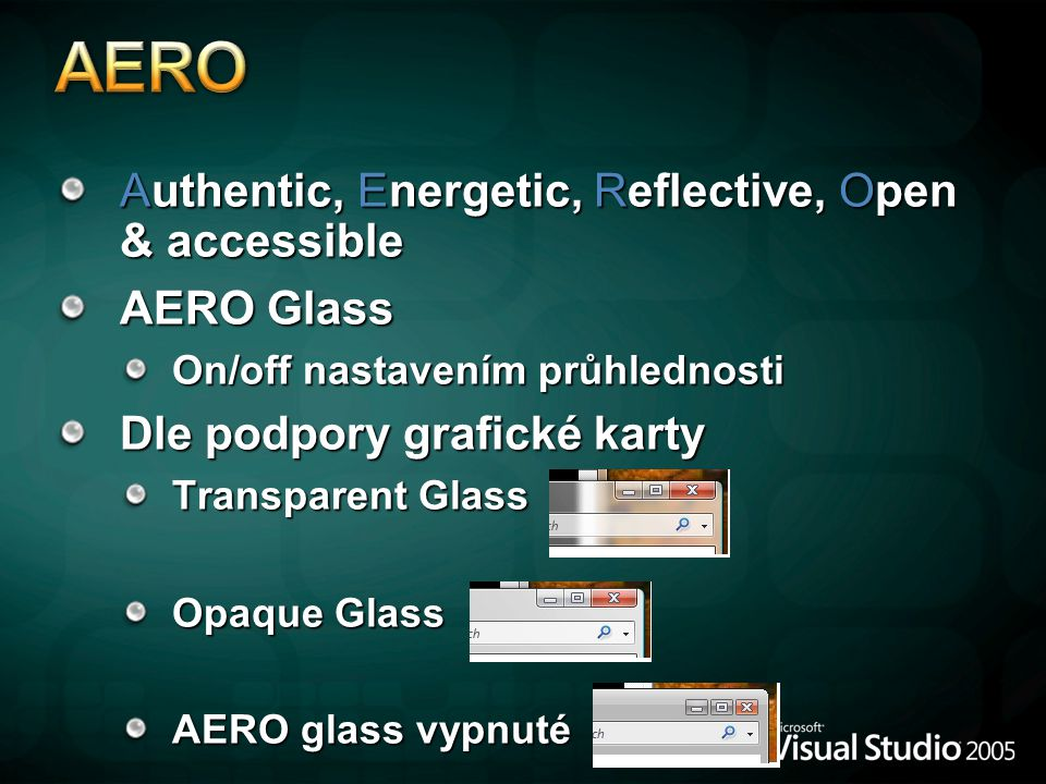 AERO Authentic, Energetic, Reflective, Open & accessible AERO Glass