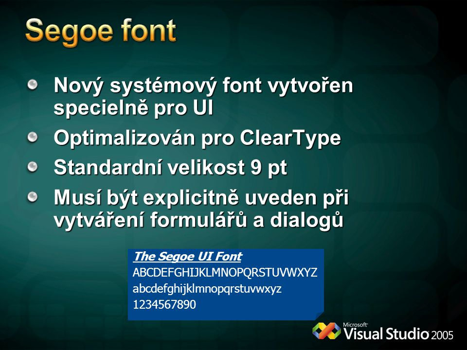 Segoe font Nový systémový font vytvořen specielně pro UI