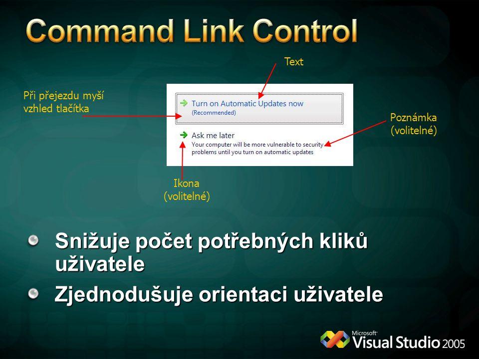 Command Link Control Snižuje počet potřebných kliků uživatele