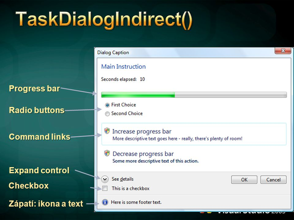 TaskDialogIndirect()