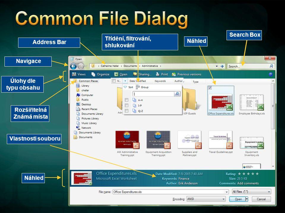 Common File Dialog Search Box Třídění, filtrování, shlukování Náhled