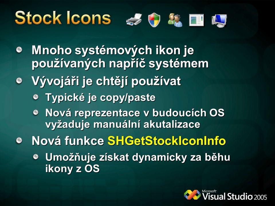 Stock Icons Mnoho systémových ikon je používaných napříč systémem