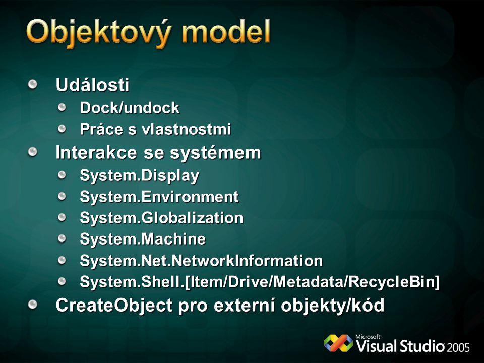 Objektový model Události Interakce se systémem