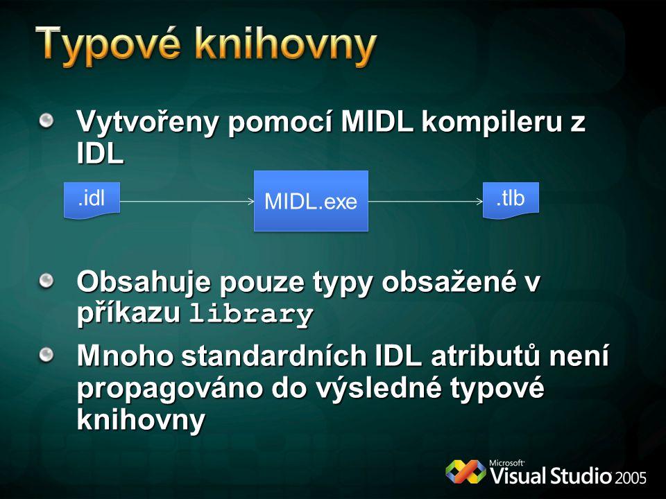 Typové knihovny Vytvořeny pomocí MIDL kompileru z IDL