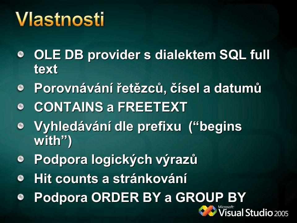 Vlastnosti OLE DB provider s dialektem SQL full text