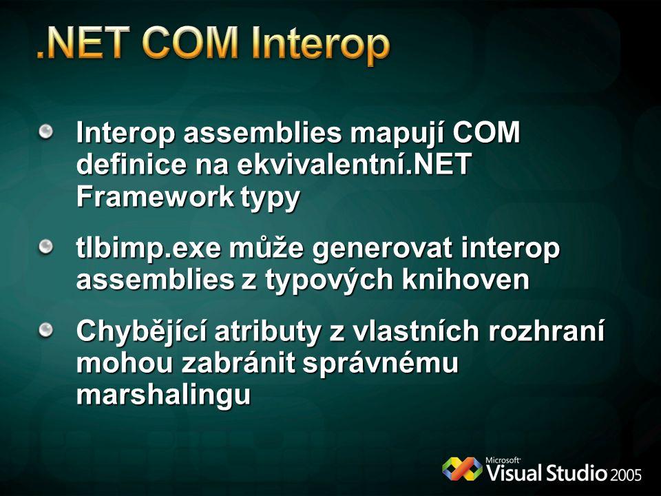 4/6/2017 12:04 AM .NET COM Interop. Interop assemblies mapují COM definice na ekvivalentní.NET Framework typy.