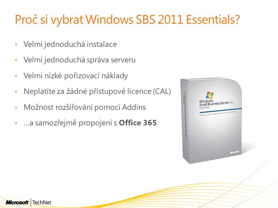 Proč si vybrat Windows SBS 2011 Essentials