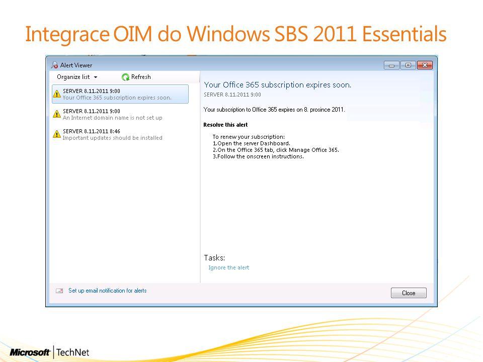 Integrace OIM do Windows SBS 2011 Essentials